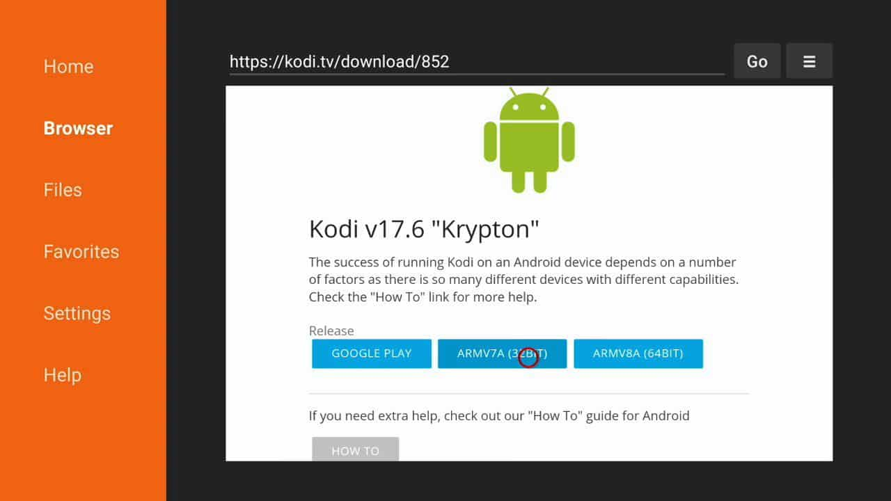 how to install Kodi of firestick step 9,