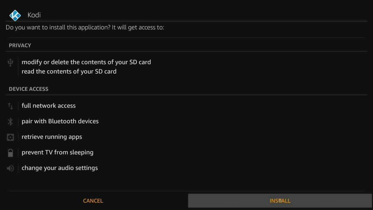 how to install Kodi of firestick step 10,