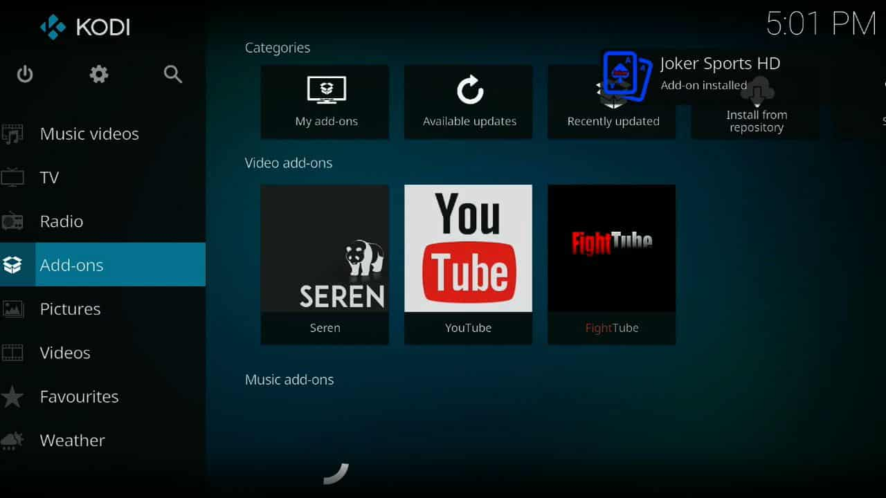 how to install Joker Sports of firestick step 12, Step 12 installation guide,best live sports addon for kodi 2018,install Joker Sports on kodi,best live sports on kodi,best live stream for kodi,Joker Sports best kodi sports addon,best soccer live stream,best soccer live stream app,best sports stream on k
