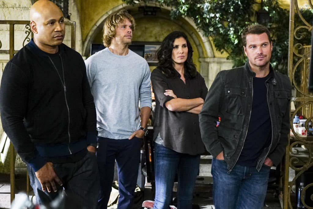 """""""High-Value Target"""" and """"Belly of the Beast"""" -- Pictured: LL COOL J (Special Agent Sam Hanna), Chris O'Donnell (Special Agent G. Callen), Daniela Ruah (Special Agent Kensi Blye) and Chris O'Donnell (Special Agent G. Callen). After NCIS fails to locate a mole in the department, Under Secretary of Defense Corbin Duggan (Jackson Hurst) insists on new leadership and takes over the Los Angeles unit from Hetty and Granger.  Also, the team travels to Syria to apprehend a High Value Target where one team member is severely injured when the mission goes awry, on the special two hour eighth season premiere of NCIS: LOS ANGELES, Sunday, Sept. 25 (8:30-10:30 PM, ET/8:00-10:00 PM, PT), on the CBS Television Network. Photo: Richard Cartwright/CBS ©2016 CBS Broadcasting, Inc. All Rights Reserved."""