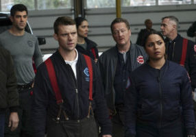 "CHICAGO FIRE -- ""When They See Us Coming"" Episode 618 -- Pictured: (l-r) Damon Dayoub as Jake Cordova, Jesse Spencer as Matthew Casey, Miranda Rae Mayo Stella Kidd, Christian Stolte as Mouch, Monica Raymund as Gabriela Dawson, David Eigenberg as Christopher Herrmann -- (Photo by: Elizabeth Morris/NBC)"